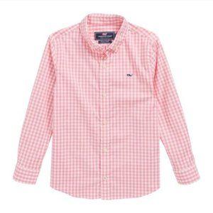 Vineyard Vines Boys Classic Gingham Whale Shirt~S